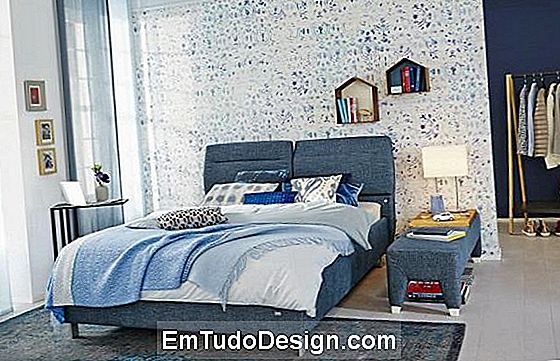 O denim no quarto dá paz e relaxamento